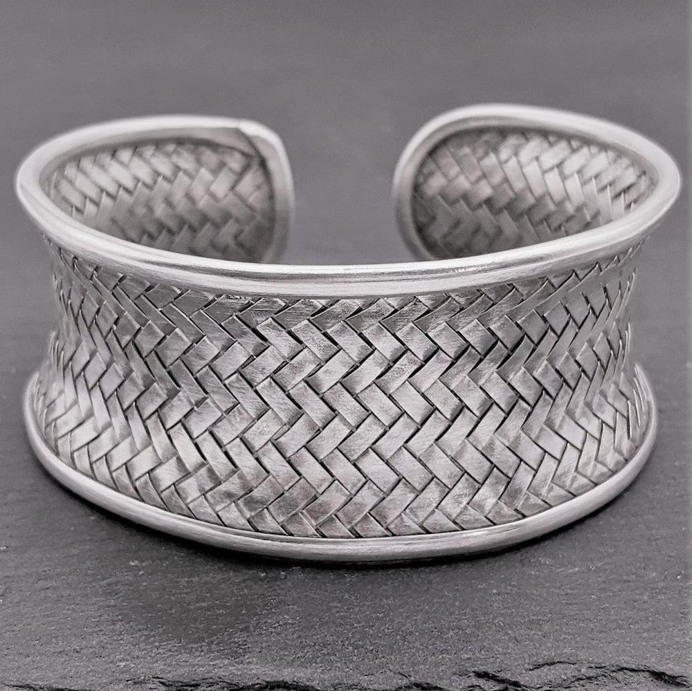 Pure Silver Karen Hill Tribe Woven Adjustable Cuff Bangle