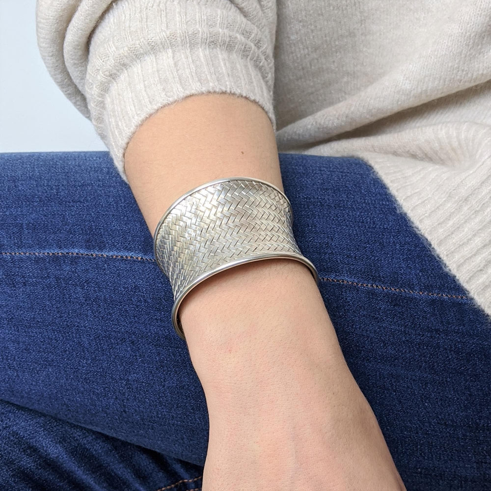 Pure Silver Karen Hill Tribe Woven Cuff Bangle