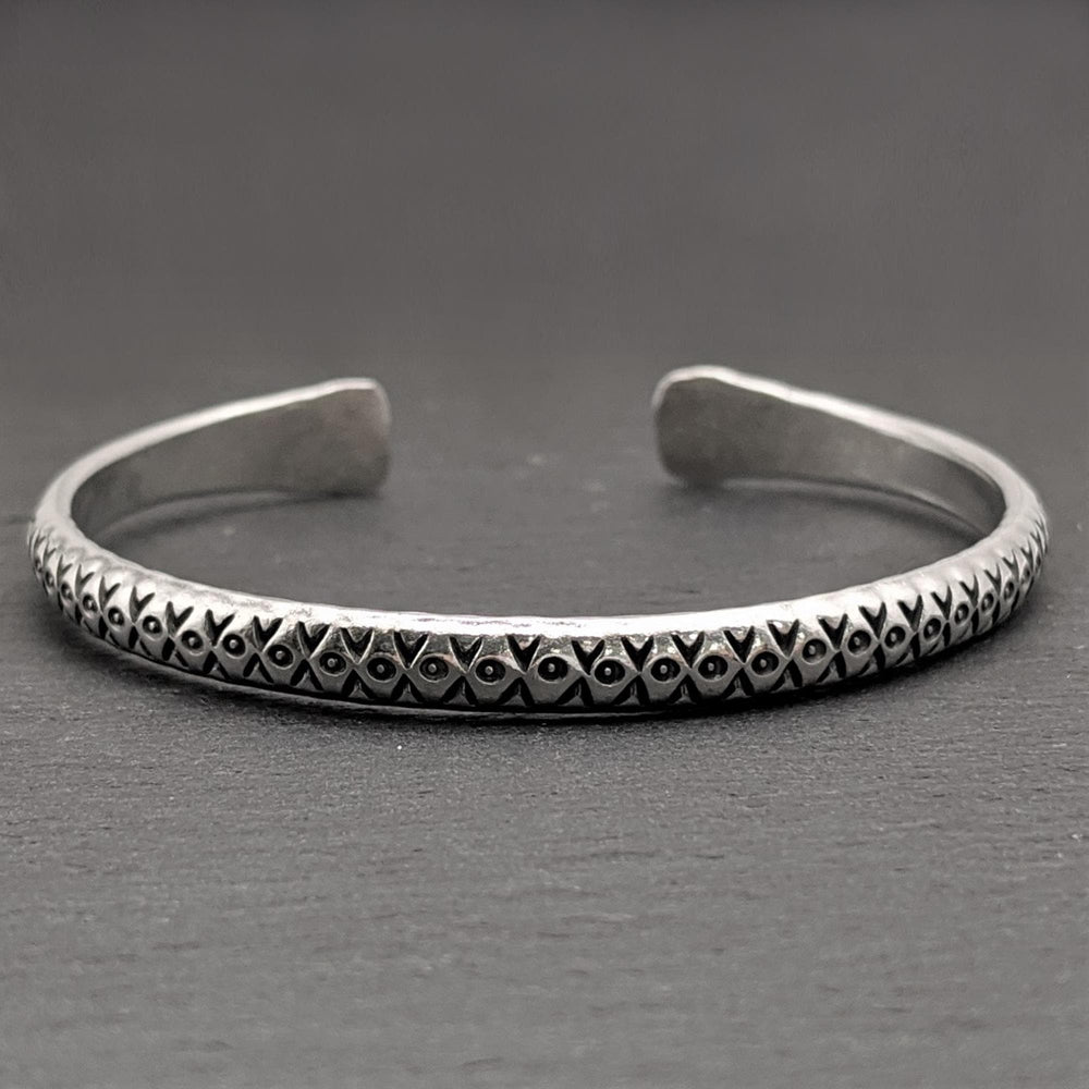 Pure Silver Karen Hill Tribe Engraved Adjustable Bangle