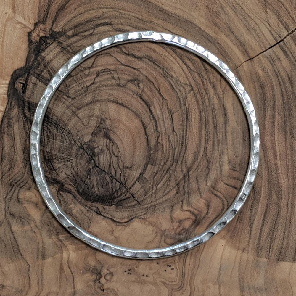 Pure Silver Karen Hill Tribe Hammered Flat Stackable Bangle