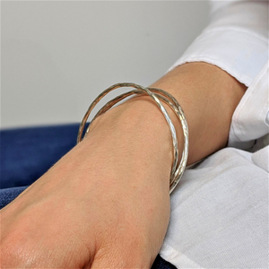 Pure Silver Karen Hill Tribe Hammered Tube Stackable Bangle