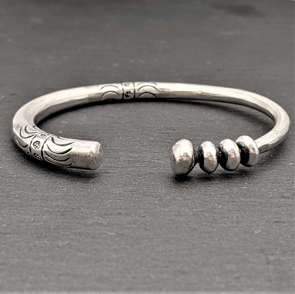 Pure Silver Karen Hill Tribe Engraved Bangle