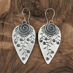 Pure Silver Karen Hill Tribe Engraved Leaf Earrings
