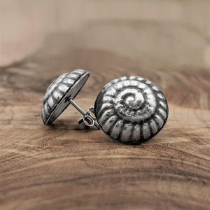 Pure Silver Karen Hill Tribe Snail Spiral Stud Earrings
