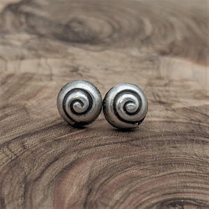Load image into Gallery viewer, Pure Silver Karen Hill Tribe Seashell Spiral Stud Earrings