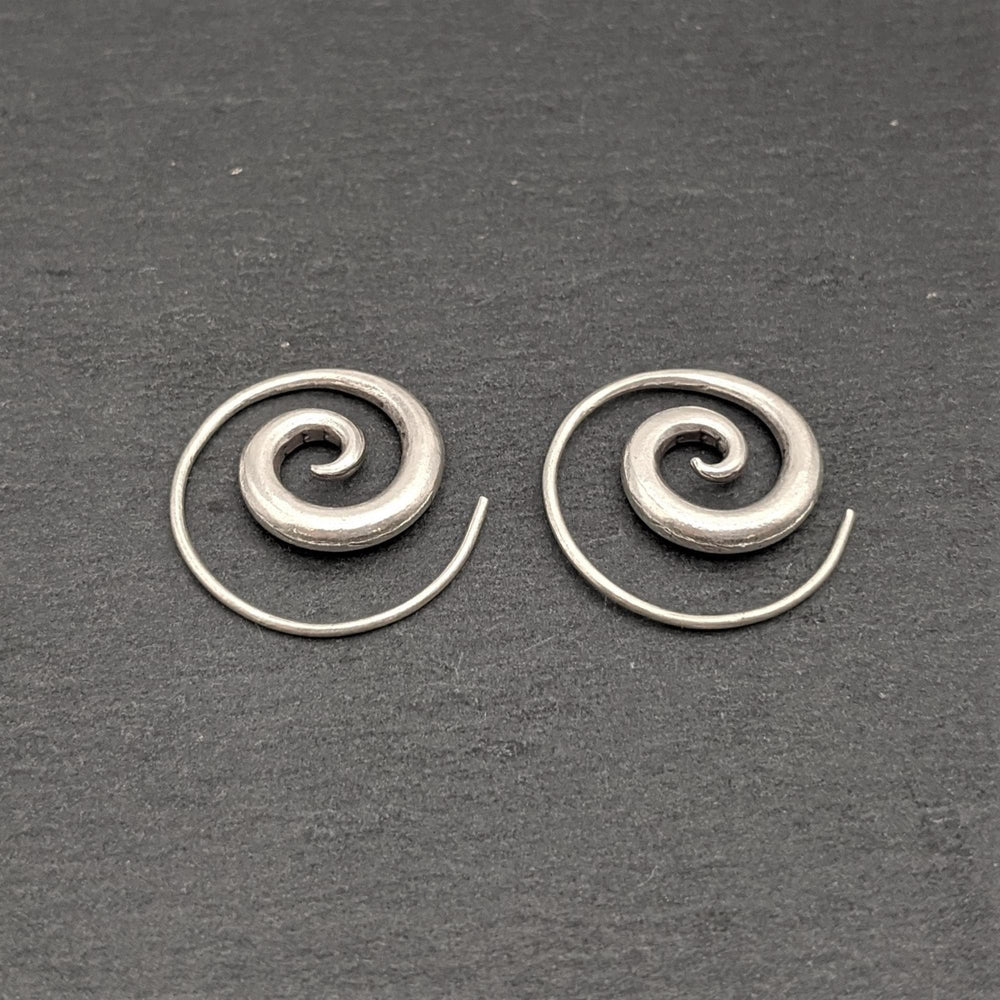 Pure Silver Karen Hill Tribe Simple Spiral Threader Earrings