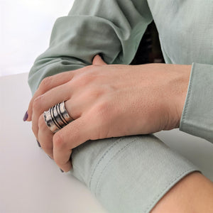 Pure Silver Karen Hill Tribe Ridged Adjustable Ring