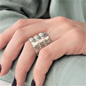 Pure Silver Karen Hill Tribe Overlapping Fish Scales Ring