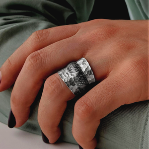 Pure Silver Karen Hill Tribe Hammered Lotus Adjustable Ring