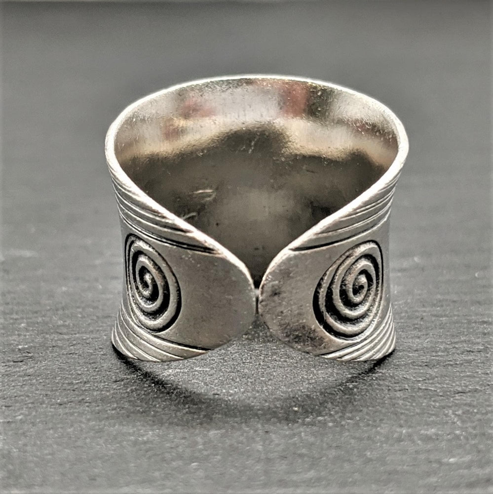 Pure Silver Karen Hill Tribe Engraved Spiral Adjustable Ring