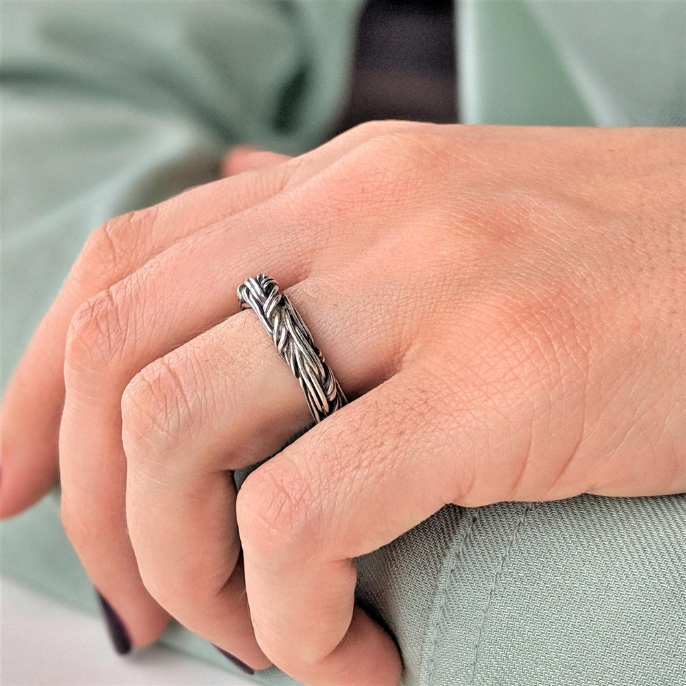 Load image into Gallery viewer, Pure Silver Karen Hill Tribe Intertwined Rope Adjustable Ring