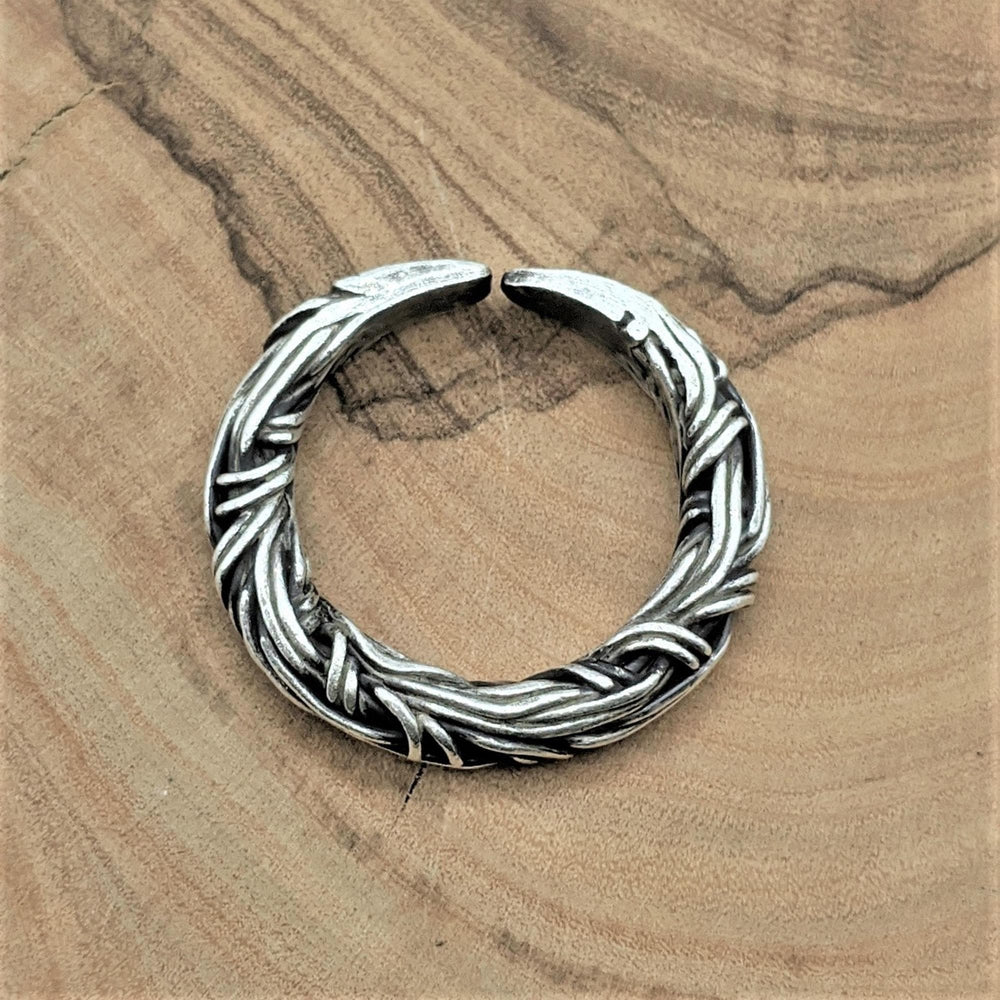 Pure Silver Karen Hill Tribe Intertwined Rope Adjustable Ring