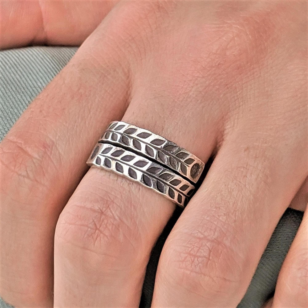 Pure Silver Karen Hill Tribe Overlapping Engraved Ring