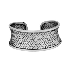 Pure Silver Karen Hill Tribe Woven Adjustable Cuff Bangle - 81stgeneration