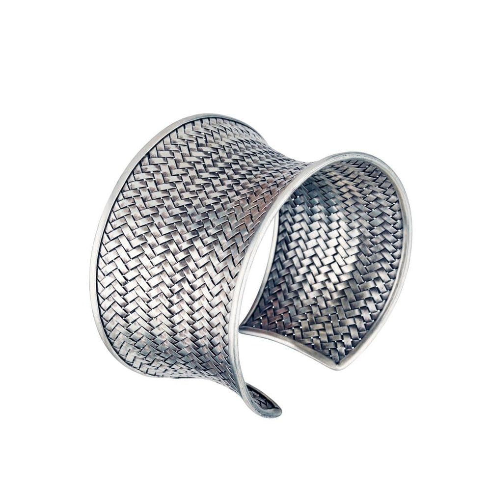 Pure Silver Karen Hill Tribe Woven Cuff Bangle - 81stgeneration