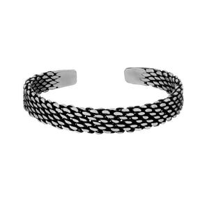 Pure Silver Karen Hill Tribe Weave Design Adjustable Bangle