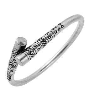 Pure Silver Karen Hill Tribe Engraved Ends Bangle