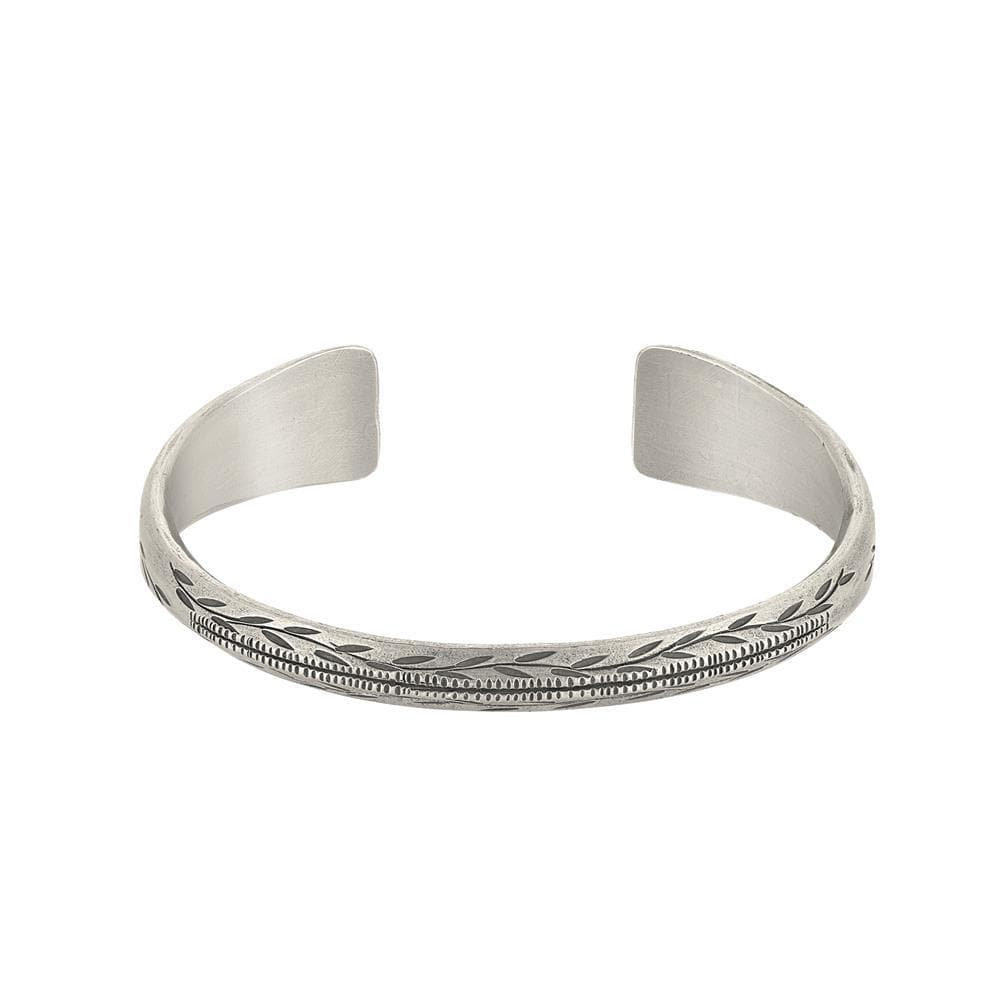 Pure Silver Karen Hill Tribe Chunky Leaf Engraved Bangle