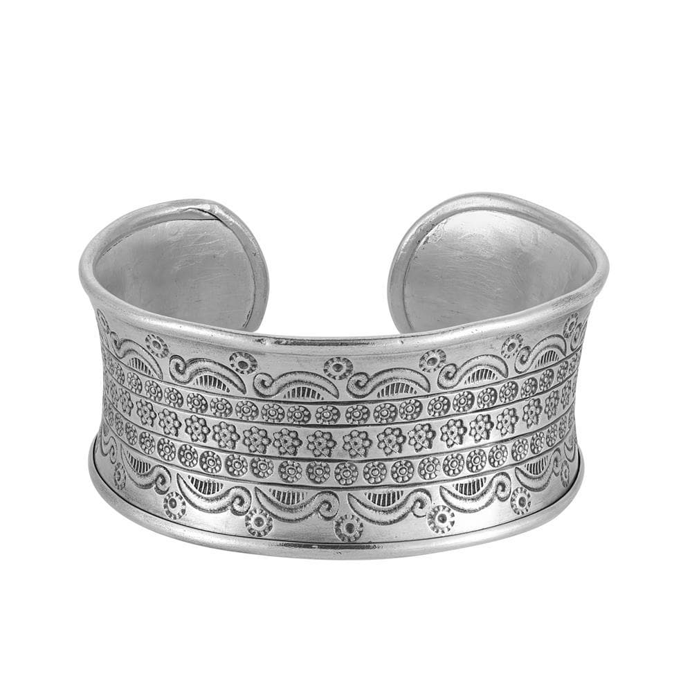 Pure Silver Karen Hill Tribe Wide Adjustable Cuff Bangle