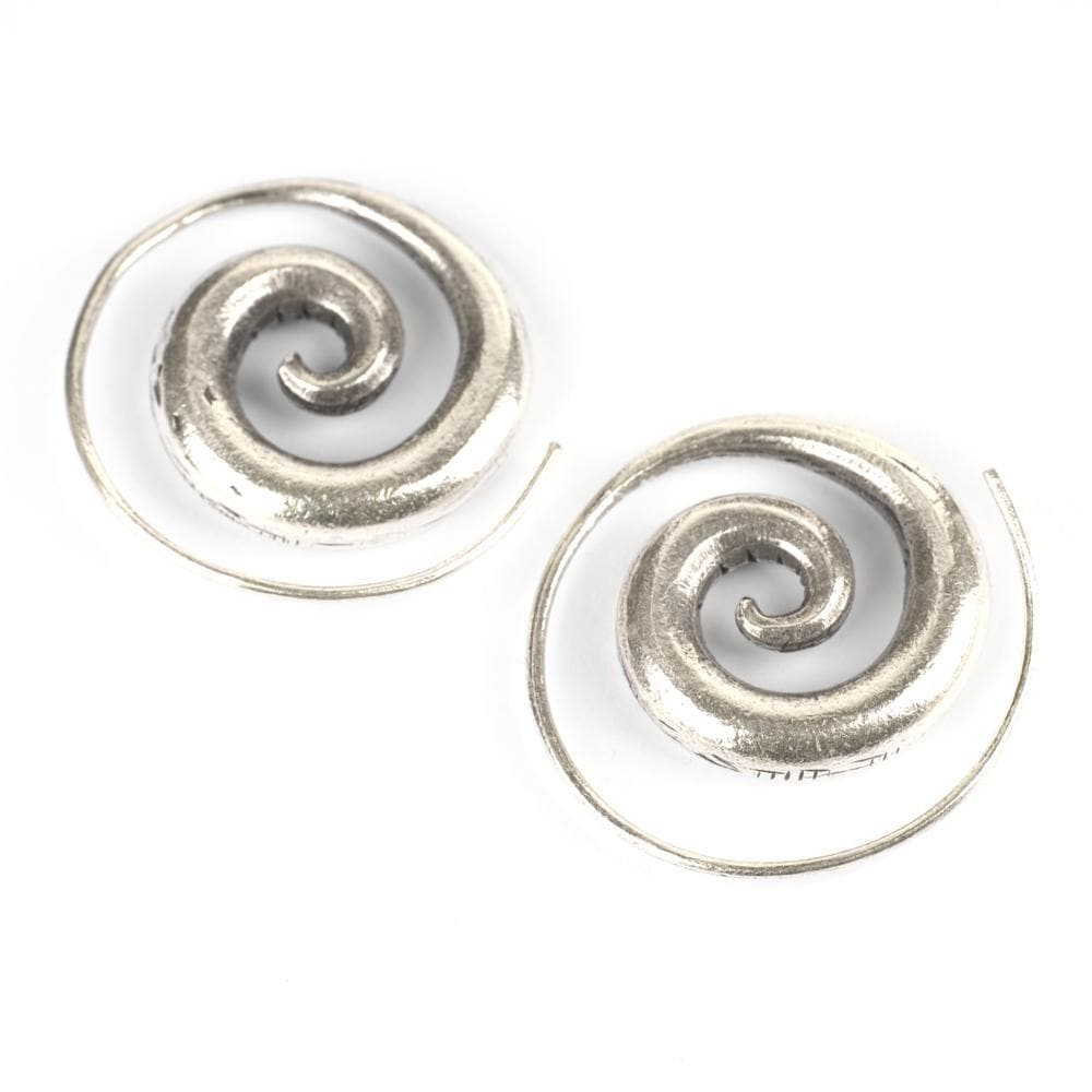 Pure Silver Karen Hill Tribe Swirl Tribal Earrings