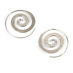 Pure Silver Karen Hill Tribe Spiral Tribal Earrings - 81stgeneration