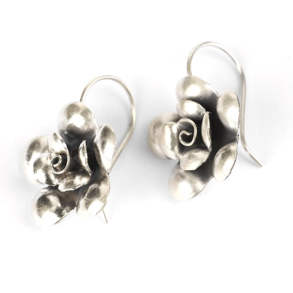 Pure Silver Karen Hill Tribe Rose Flower Earrings