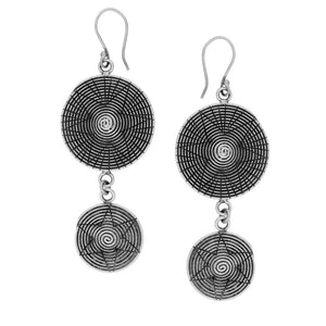 Load image into Gallery viewer, Pure Silver Karen Hill Tribe Double Swirl Disc Earrings