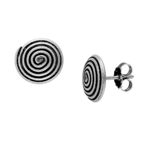 Pure Silver Karen Hill Tribe Spiral Swirl Stud Earrings