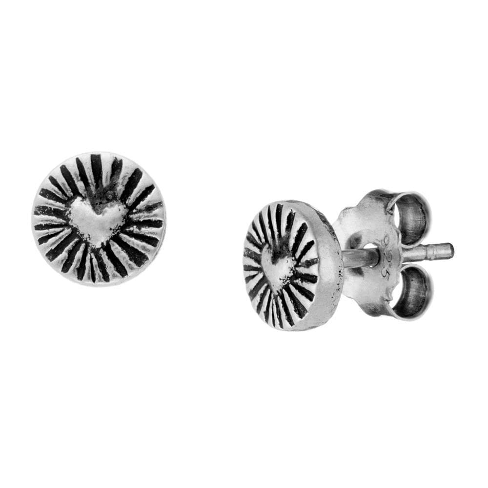 Pure Silver Karen Hill Tribe Round Heart Stud Earrings