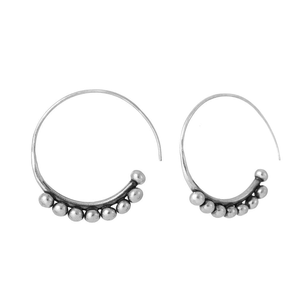Load image into Gallery viewer, Pure Silver Karen Hill Tribe Ball Wire  Hoop Earrings