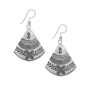 Pure Silver Karen Hill Tribe Fan Leaf Engraved Earrings