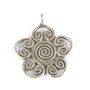 Pure Silver Karen Hill Tribe Engraved Lotus Pendant