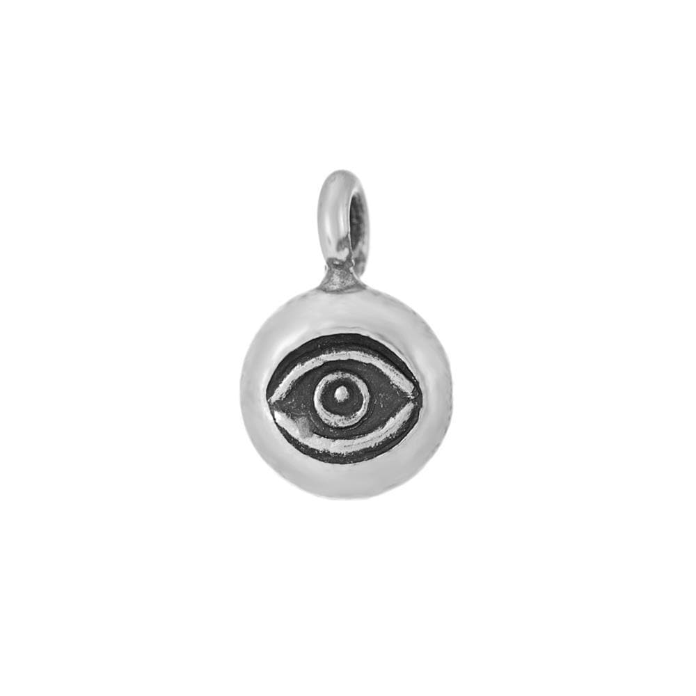 Pure Silver Karen Hill Tribe Round Eye Engraved Pendant