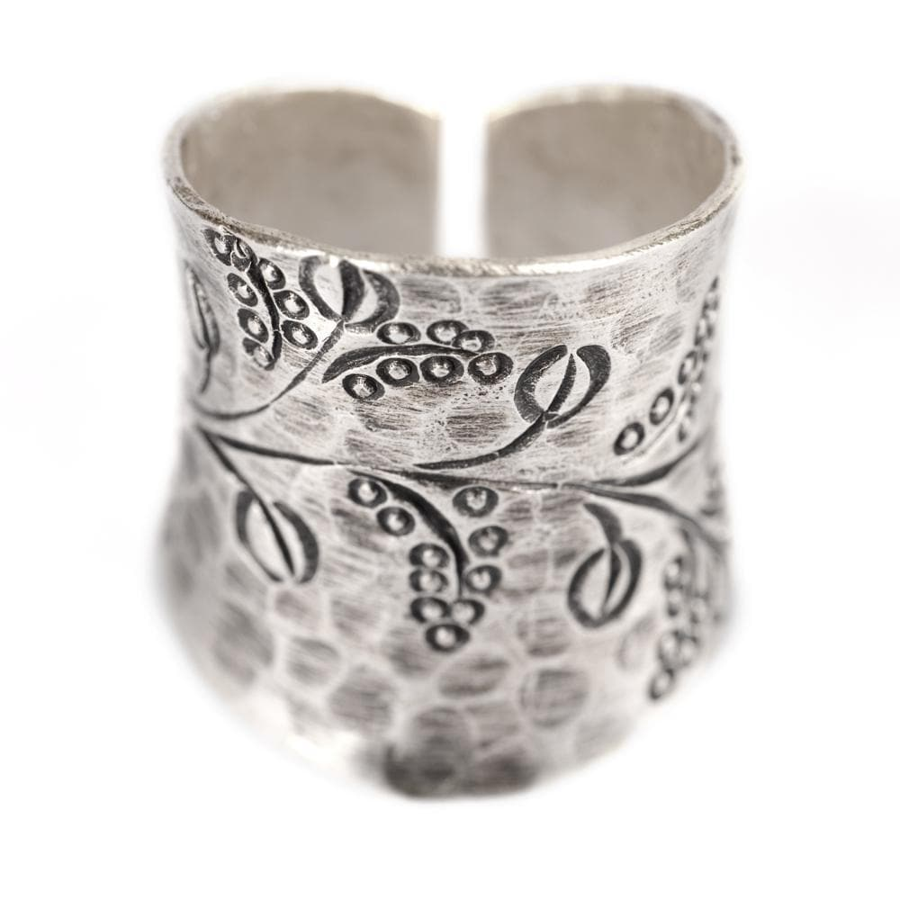 Pure Silver Karen Hill Tribe Coffee Bean Adjustable Ring - 81stgeneration
