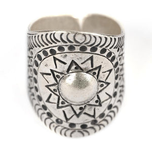 Pure Silver Karen Hill Tribe Aztec Sun Adjustable Ring - 81stgeneration