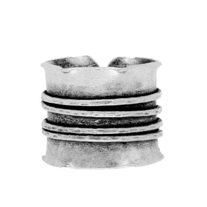 Load image into Gallery viewer, Pure Silver Karen Hill Tribe Ridged Adjustable Ring