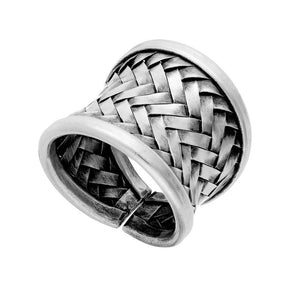 Pure Silver Karen Hill Tribe Woven Adjustable Ring