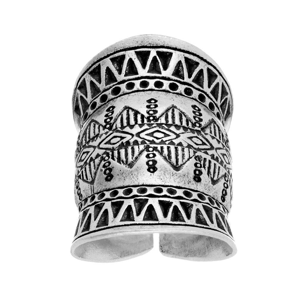 Pure Silver Karen Hill Tribe Etched Armour Adjustable Ring