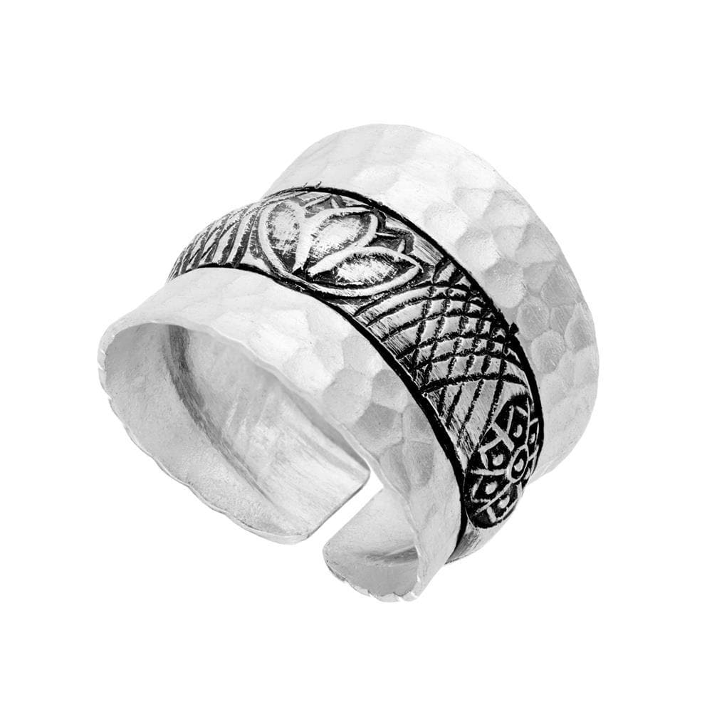 Load image into Gallery viewer, Pure Silver Karen Hill Tribe Hammered Lotus Adjustable Ring