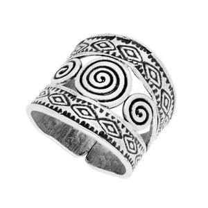 Pure Silver Karen Hill Tribe Etched Spiral Adjustable Ring