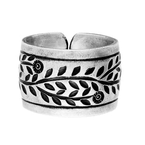 Pure Silver Karen Hill Tribe Engraved Flower Adjustable Ring