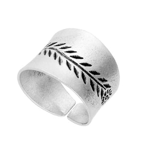 Pure Silver Karen Hill Tribe Engraved Leaves Adjustable Ring