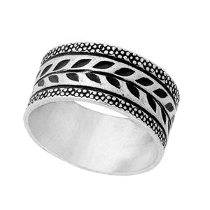 Pure Silver Karen Hill Tribe Tribal Engraved Leaf Print Ring