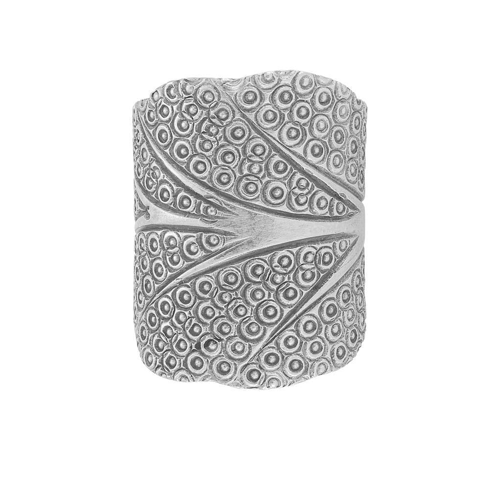 Pure Silver Karen Hill Tribe Tree Shaped Engraved Ring