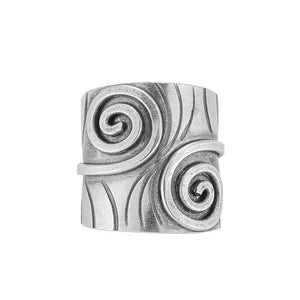Load image into Gallery viewer, Pure Silver Karen Hill Tribe Spiral Fern Leaf Adjustable Ring