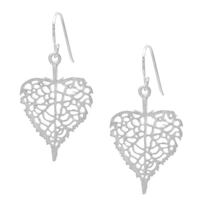 Load image into Gallery viewer, Satin Sterling Silver Filigree Leaf Heart Dangle Earrings