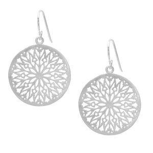 Satin Sterling Silver Filigree Icicle Disc Dangle Earrings