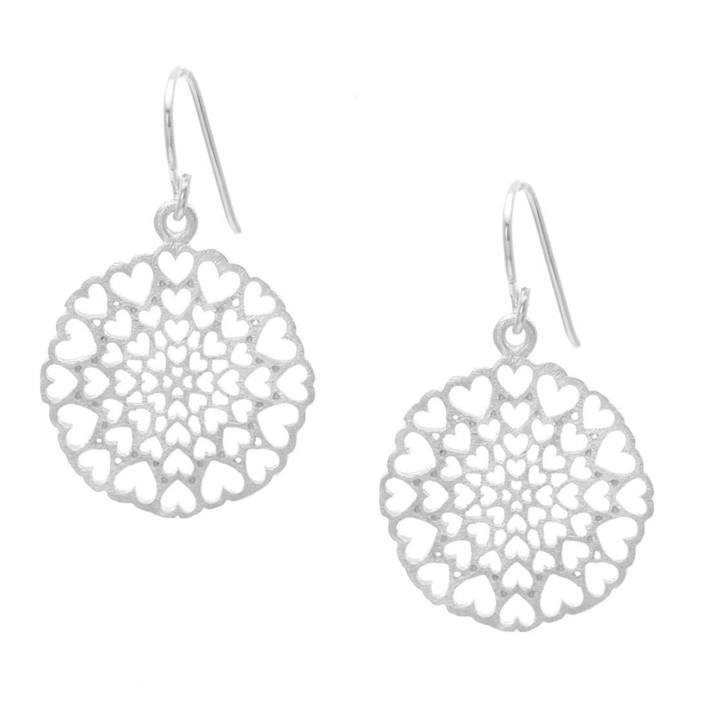 Load image into Gallery viewer, Satin Sterling Silver Kaleidoscope Heart Dangle Earrings