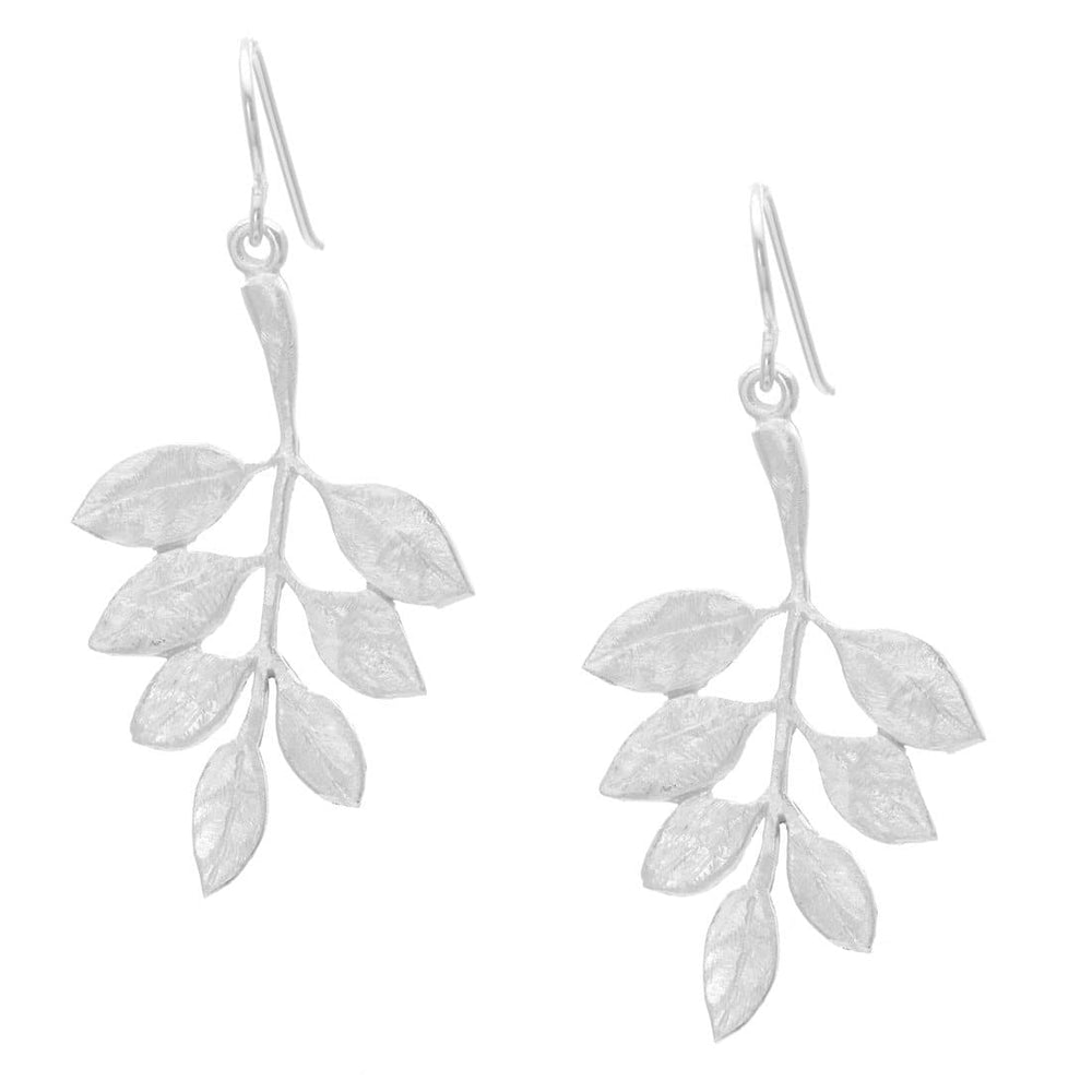 Satin Sterling Silver Twig Leaf Plant Dangle Earrings