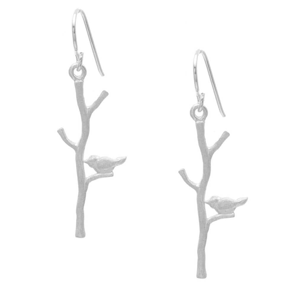 Load image into Gallery viewer, Satin Sterling Silver Bird Tree Branch Dangle Earrings